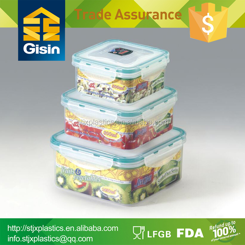 Square plastic airtight food storage container with sealed lid
