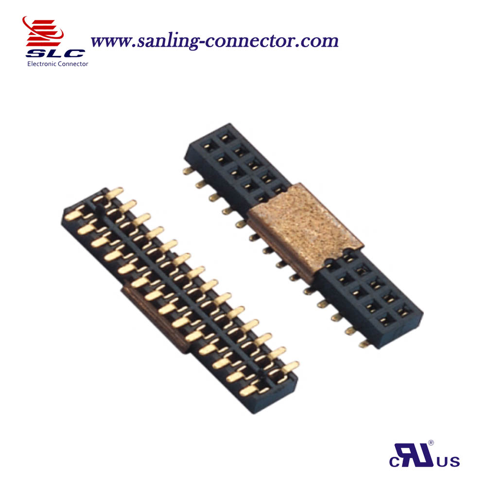 1.27mm dual row SMT Type pin female header connector with post or CAP