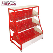 Supermarket floor metal and acrylic food display cases with wheels