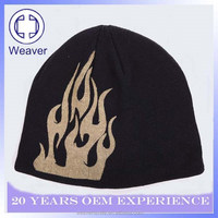 New design Blank printed flame beanie knitted hat