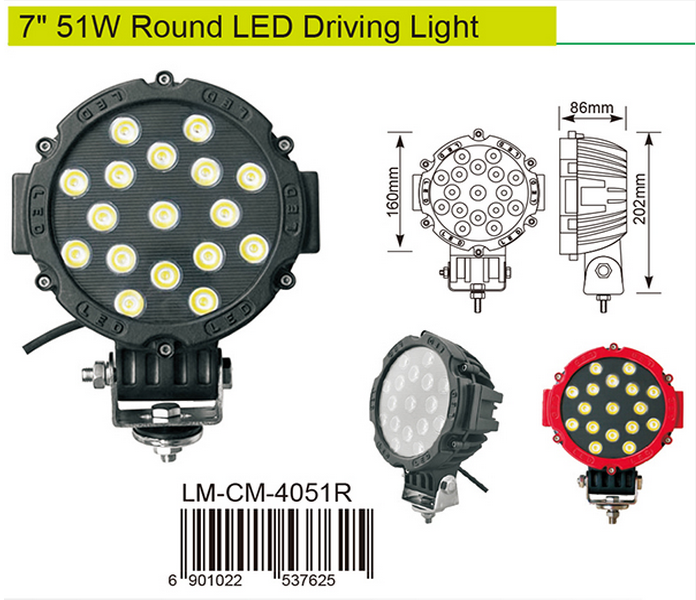 China Professional factory led offroad light 51w 4x4 Spot Light for Offroad