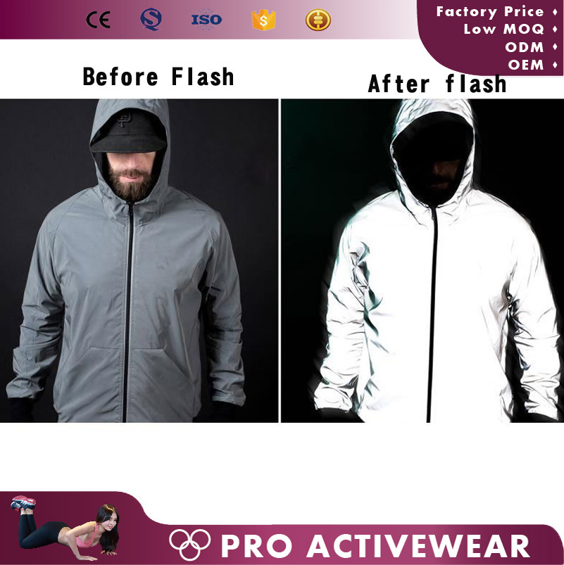 Custom hooded lightweight windbreaker jacket reflective windbreak jacket