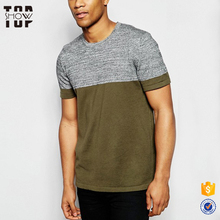 Top selling products in alibaba men crew neck two-tone plain color t shirt manufacturing