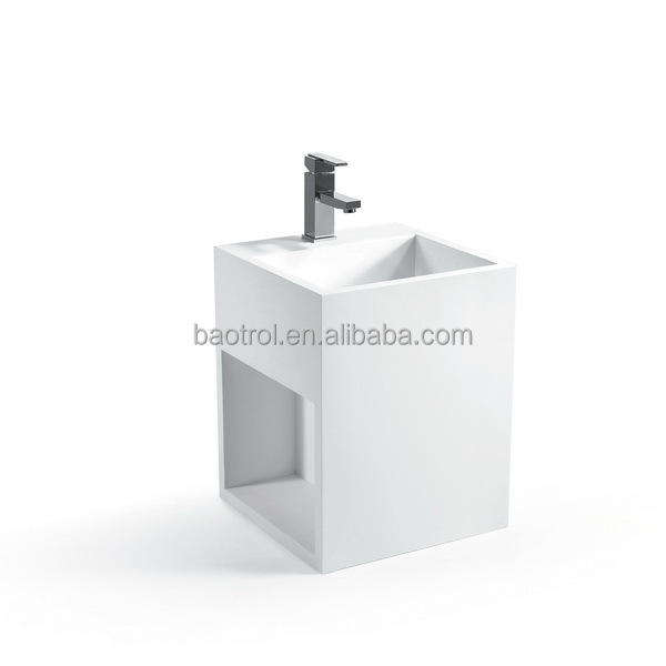 White marble color pedestal sink natural stone basin bathroom pedestal basin