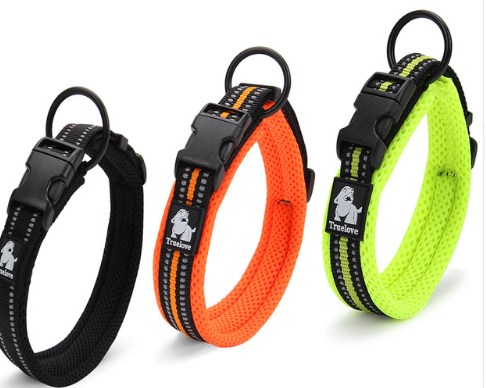 Quality 3M Reflective Dog Collars Adjustable Pet Cat&Dog Collar Outdoor Trainning Soft Air Mesh Padded Brand Pet Product XXS-3XL