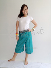 100% Thai Cotton Massage Pants Short Wrap Trouser Ocean Green with Thai Pattern Rim Fashion Pants