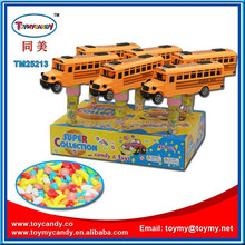 Hot new products for 2016 cheap china toys small plastic toy car with candy tube friction toy school bus for child