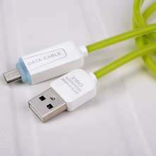 Alibaba supplier wholesale LED light up cable micro usb V8 charging cable for Android Device