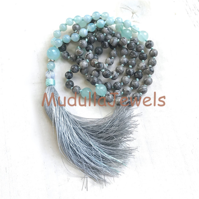 N17082513 Amazonite and Picasso Jasper Hand Knotted Mala Beads 108 Mala With Gray Tassel