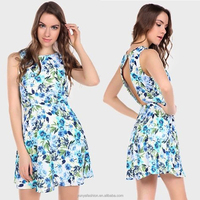 New Women Sleeveless Korean Style Back Hollow Out Floral Dress