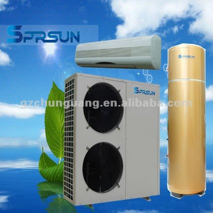 solar small heat pump air conditioner and water heater