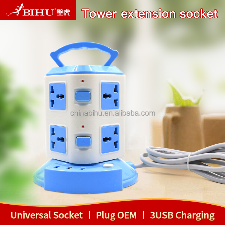 3 USB tower extension cord socket universal cheap power strip