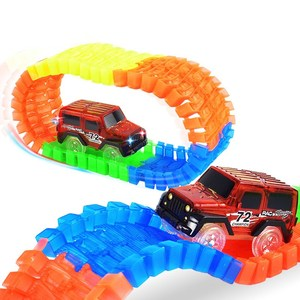 Plastic magic track car race toy,track light led car glow in the dark toy,glow race track slot car vehicle kit set