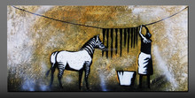 canvas painting funny animals with people oil painting wall sticker horse wall pictures for living room decoration