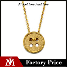 Latest Design Womens Gold Botton Plain Chain Links Necklace