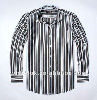 Custom label Mens oem stylish shirt stripe fancy dress shirt for man