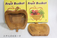 2015 New arrival bamboo folding wooden color fruit basket