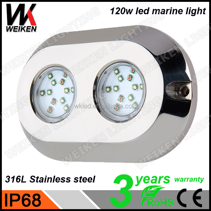 RGB Waterproof 120w IP68 316L Stainless Steel high power Crees/Bridgelux/Epistar/Edison DC12V IP68 Stainless Steel led light