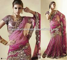 Pink netted Georgette Lehenga choli saree