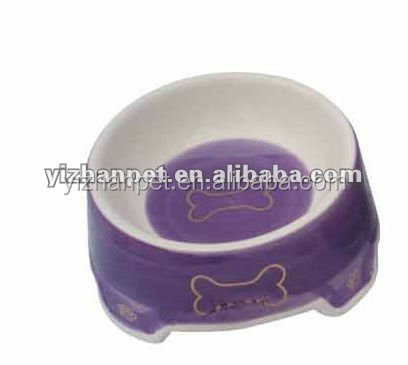 purple dog bowl with bone pattern purple ceramic dog bowl New 2016 online shopping dog cat pet China supplier