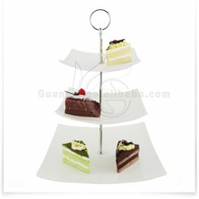 3 Tier Ceramic Cupcake Display Stand, Dessert Serving Platter with Silver Handles