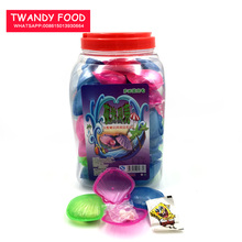 Jar Packing Glow In The Dark Colorful Plastic Shell Shape Tattoo Press Candy Toy