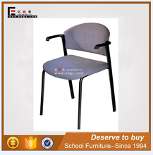 Comfortable School Library Metal Frame Student Reading Chair with Arms Armrest