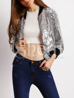 Jackets Tops fashion women Sliver Sequined Bright Color Block Trims Jacket