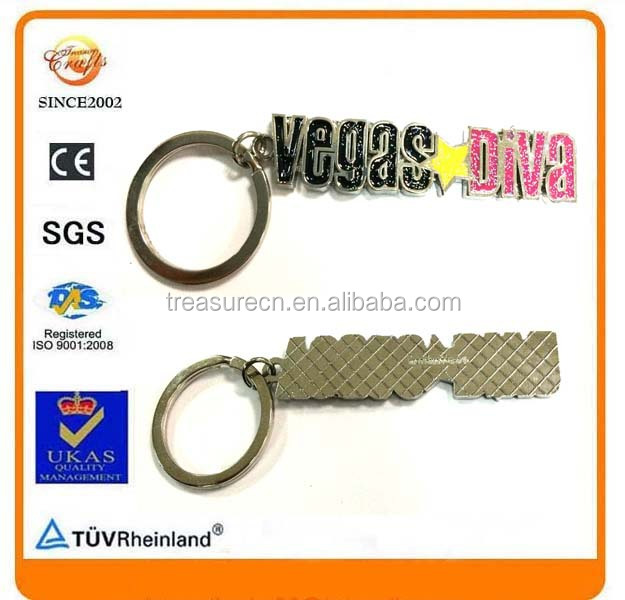 glitter powder shining bling enameling strip Vegas metal keyring keychain