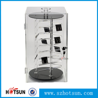 Counter top transparent lockable acrylic rotating display case