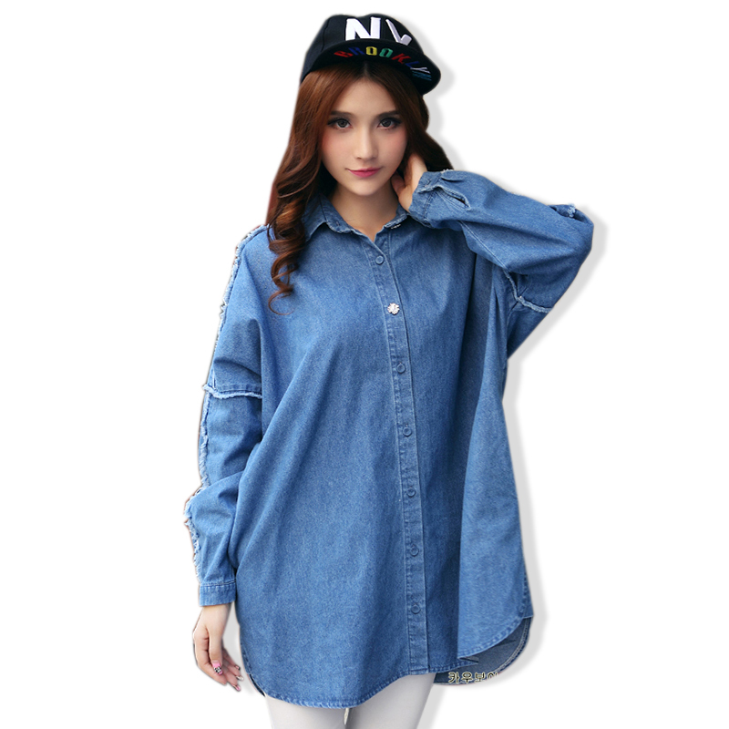 2015 Spring Autumn Women Casual Long Denim Shirts Jeans Washed Vintage Blouse Long Sleeve Patchwork Tassel Blusas Femininas