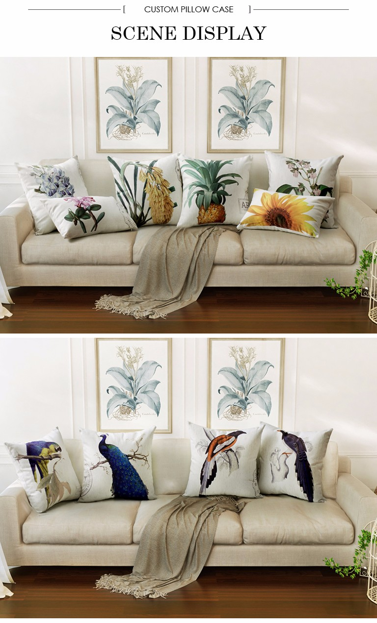 China Supplier Custom Printed Cushions Home Decor Pillow Decorative