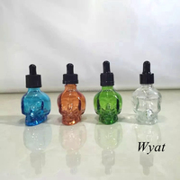 cheap colored painting small glass skull dropper bottles manufacturer 15ml