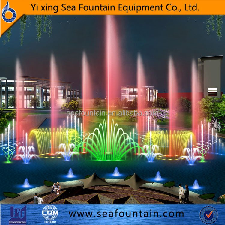 wonderful abstract multimedia colorful outdoor music water fountain dancing