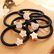 Multi- Shape Crystal Flower Crown Stars Shaped Black Elastic <strong>Hair</strong> Bands Rope Gum Rubber <strong>Hair</strong> <strong>Accessories</strong> for Women