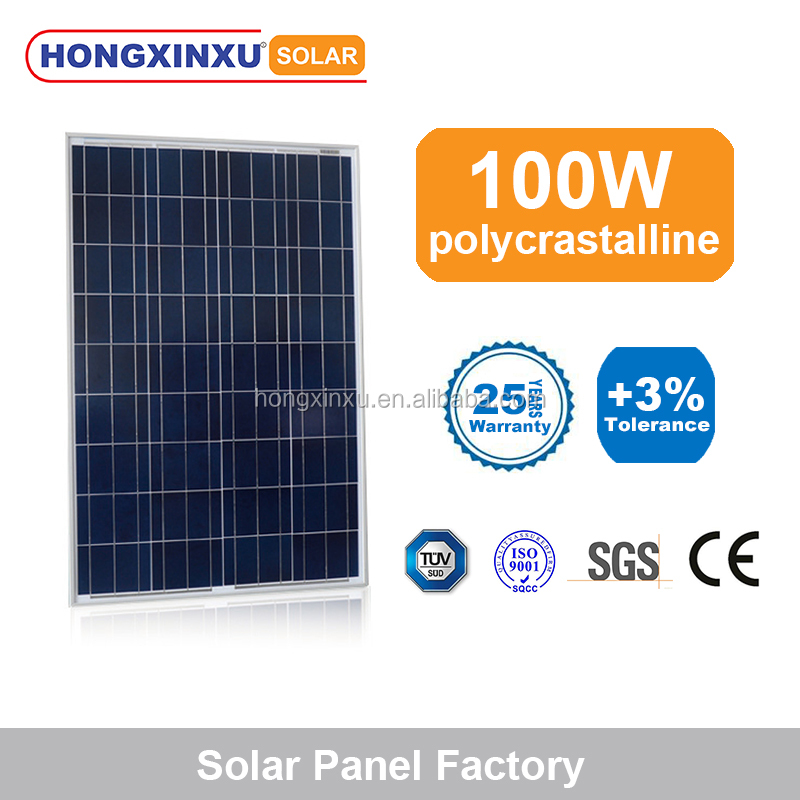 Full power 100W poly crystalline solar panel with 18V voltage A grade level