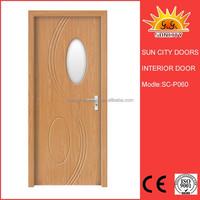 SC-P060 veneer wooden single design flush doors with glass