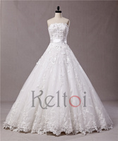 suzhou puffy princess strapless cathedral train ball gown wedding dress