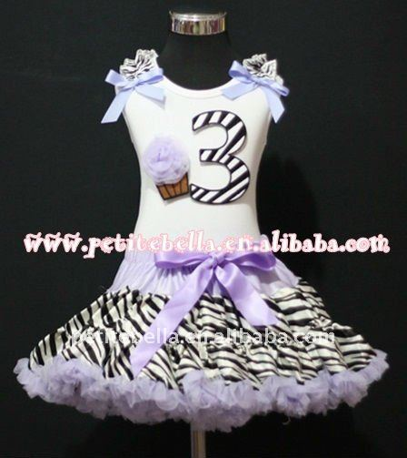 3rd Birthday White Top with Black Zebra number & Light Purple Rosette cake & Ribbon,Light Purple Zebra Ruffle Pettiskirt MAMM78