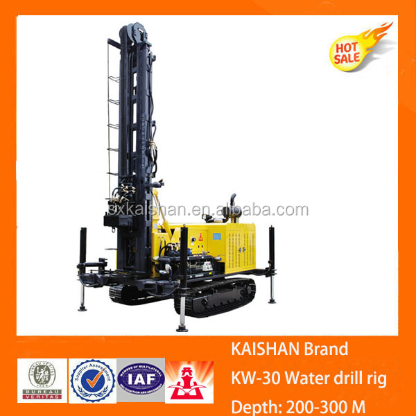 300m deep small portable crawler water well rotary drilling rig for sale KW30