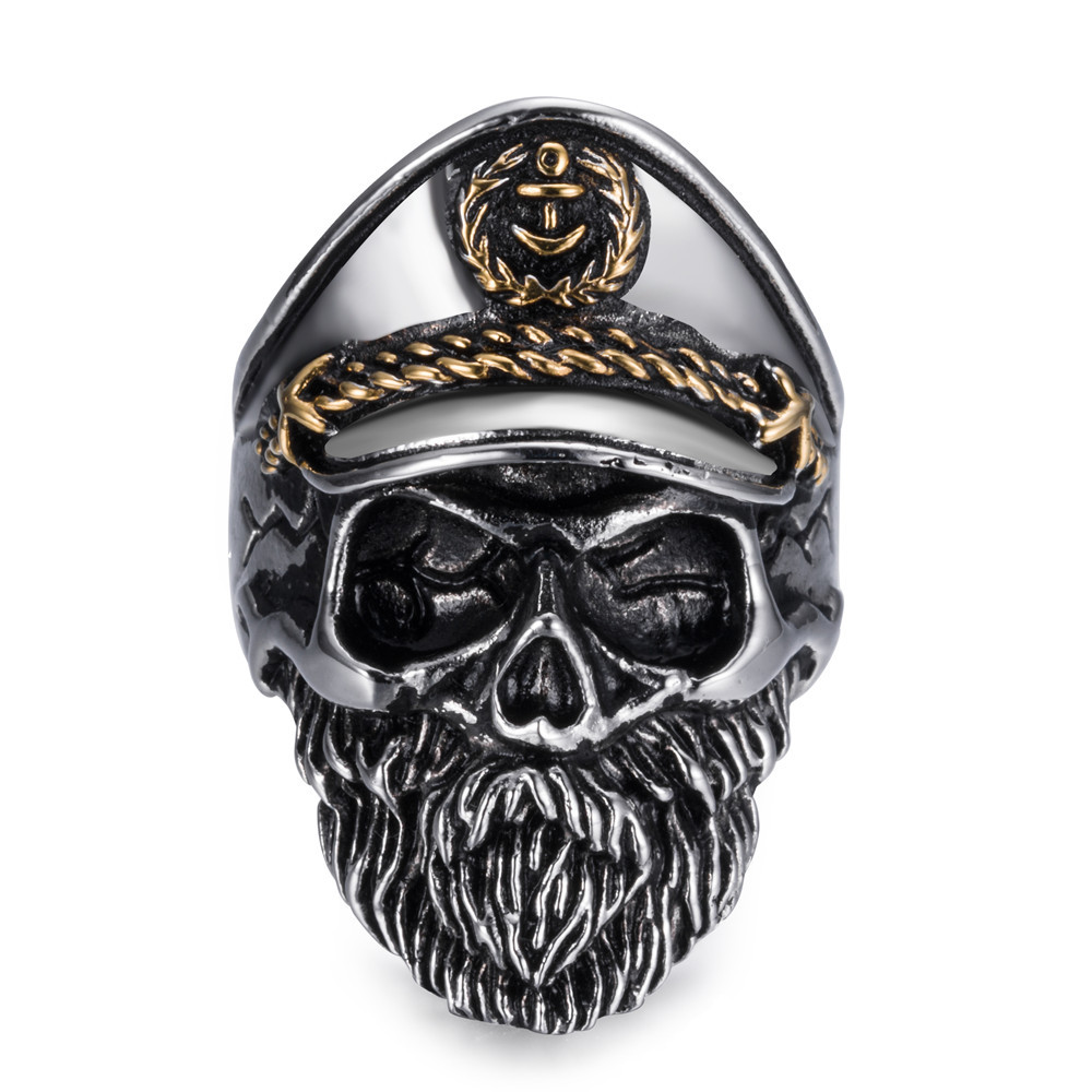 Vintage Stainless Steel Anchor Naval Officer Rings Hot Men's Punk Style Flower Skeleton Skull Biker Ring