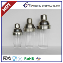 2016 CE/FDA Safe Transparent stainless steel acrylic plastic cocktail shaker