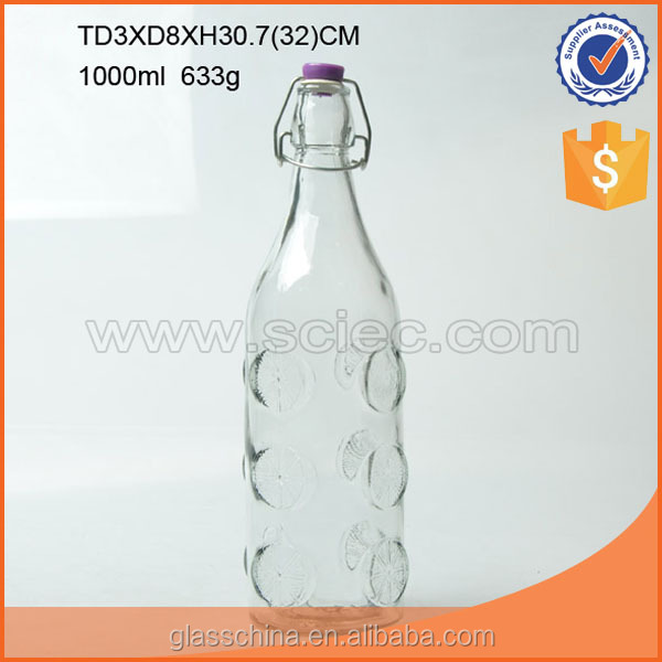 Wholesale 1000ML Round Glass Milk Bottle Belt Clip Plastic Cover