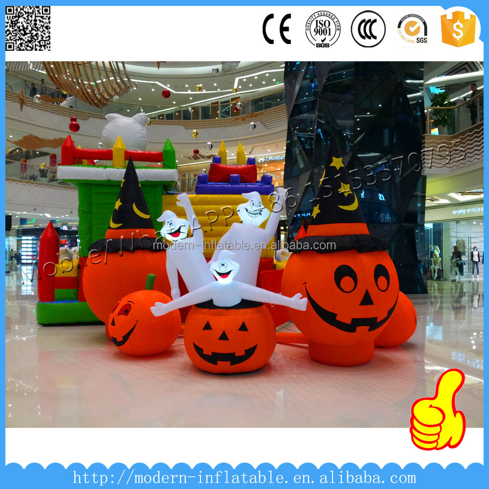 Giant Halloween Decoration Inflatable Led Pumpkin For Mall Inside Dislay