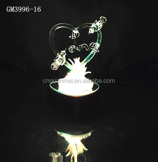 LED Birds and Love Valentine Glass Heart Gifts