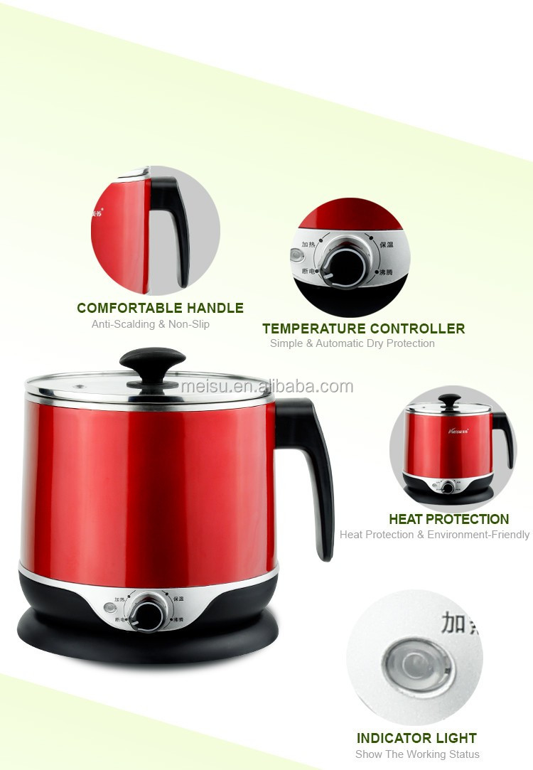 1.8L Multi-function electric cooker water boiler with SUS304 inner pot for college students