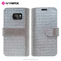 IVYMAX new top quality luxury leather bling crystal diamond wallet leather case for samsung galaxy S7/G930