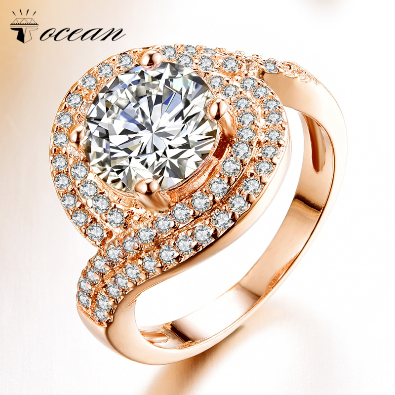 Tocean Rose Gold Color Wedding Rings for Women Round Cute AAA Zircon Engagement Femme Cubic Handsome Bijoux Bague Size 5-12 <strong>W003</strong>