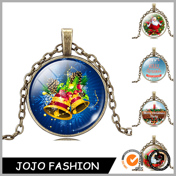 Gold Plated Chain Merry Christmas Child Gift Jingle Bell Santa Claus Necklace