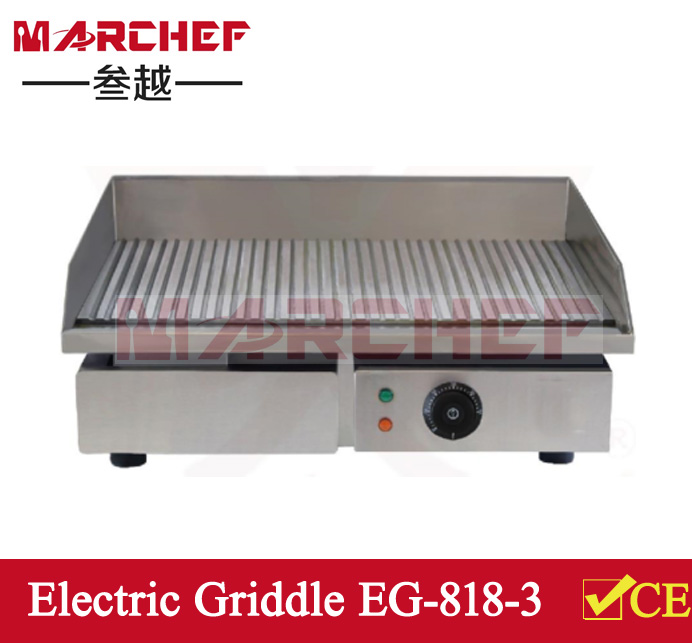 EG-818-3. Electric Grill Cooker Griddle Full Ribbed Hot Plate_Nonstick Electric Griddle